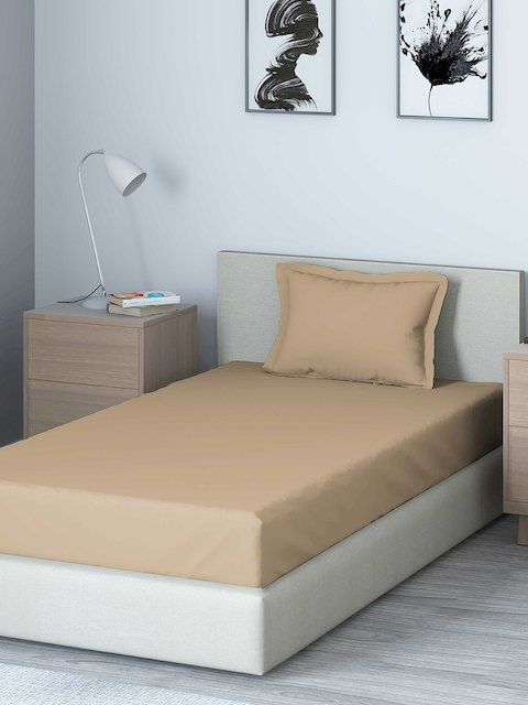 DDecor Brown Solid 210 TC Cotton 1 Single Bedsheet with 1 Pillow Covers