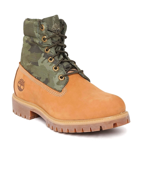 Timberland Men Tan Brown & Olive Green Camouflage Print AF Roll Top Mid-Top Boots