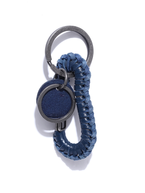 Roadster Men Navy Blue & Gunmetal-Toned Textured Key Chain