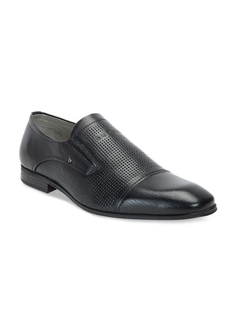 Bugatti Men Black Leather Formal Slip-Ons