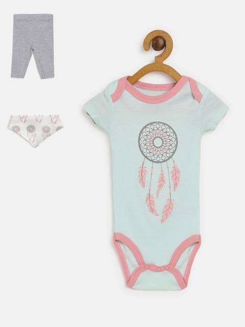 Mothers Choice Girls Sea Green & Grey Melange Printed Bodysuit with Leggings