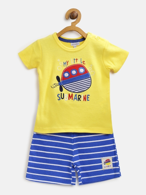 Mothers Choice Boys Yellow & Blue Embroidered T-shirt with Shorts
