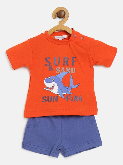 Mothers Choice Boys Red & Blue Printed T-shirt with Shorts