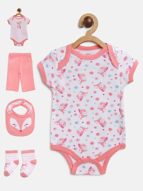 Mothers Choice Girls Off-White & Peach-Coloured Printed Bodysuits with Pyjamas
