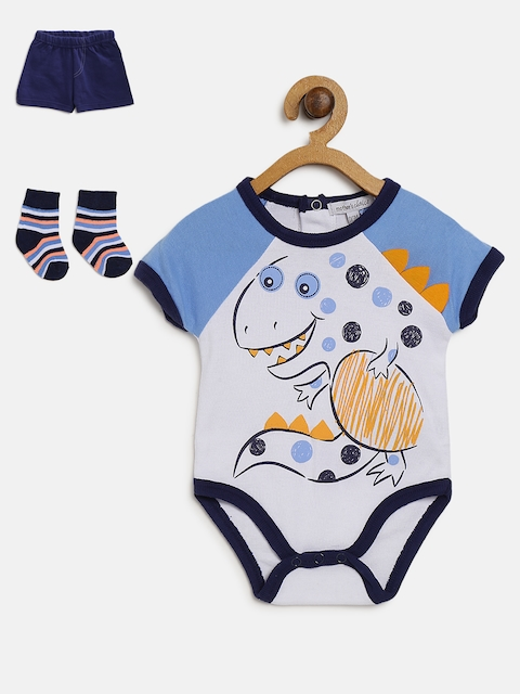 Mothers Choice Boys White & Navy Printed Bodysuit with Shorts