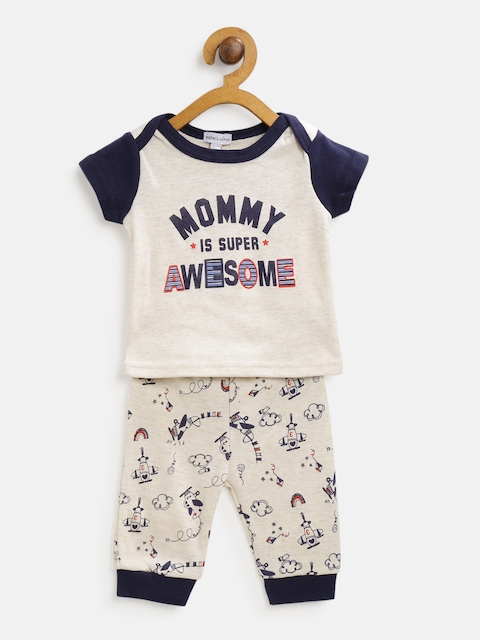 Mothers Choice Kids Beige & Navy Blue Printed T-shirt with Joggers