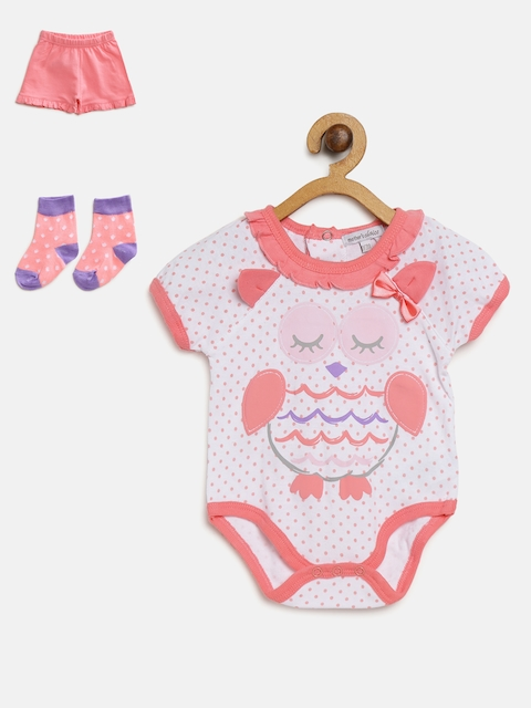 Mothers Choice Girls White & Peach-Coloured Printed Bodysuit with Shorts