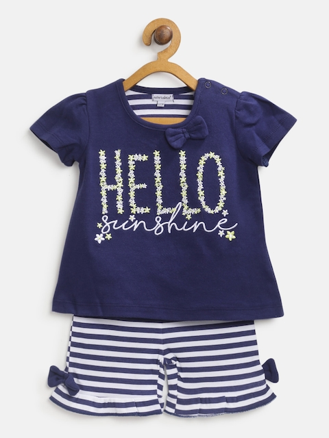 Mothers Choice Girls Navy & White Self-Design Top with Shorts