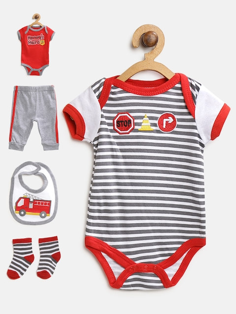 Mothers Choice Boys White & Grey Bodysuits with Joggers