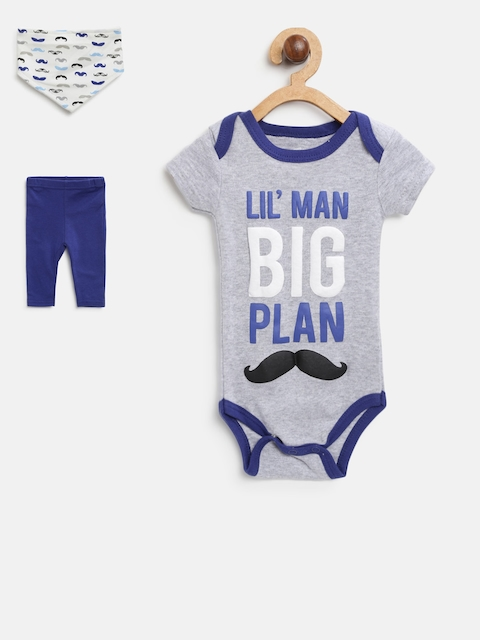 Mothers Choice Boys Grey Melange & Navy Printed Bodysuit with Pyjamas