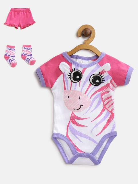 Mothers Choice Girls White & Pink Printed Bodysuit with Shorts
