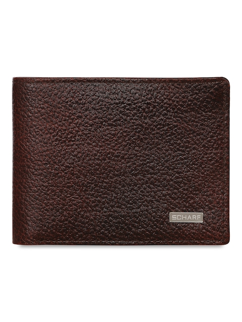 SCHARF Men Brown Solid Two Fold Leather Wallet