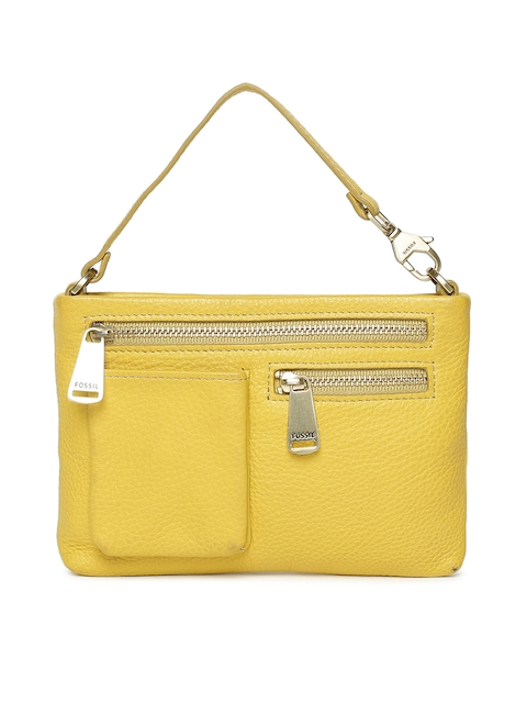 Fossil Yellow Solid Handheld Bag