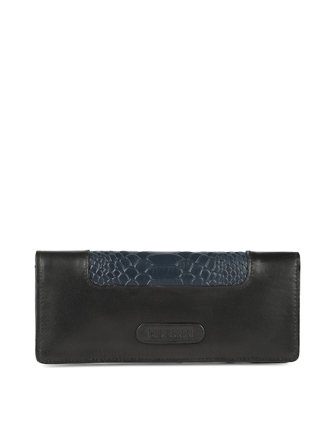Hidesign Women Black Textured Two Fold Leather Wallet