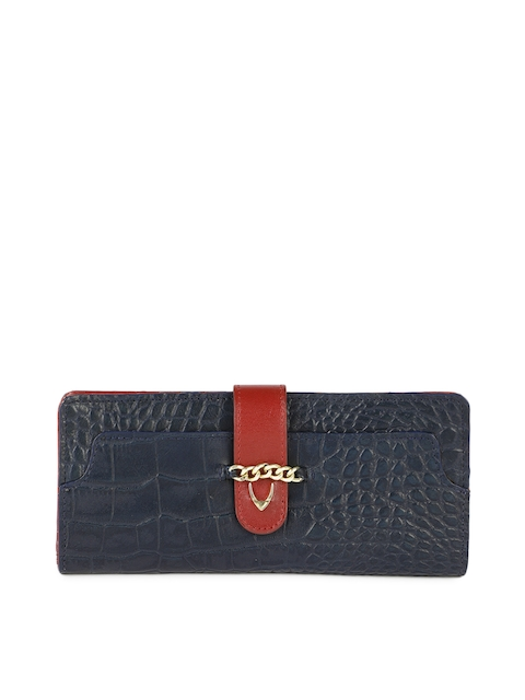Hidesign Women Blue Textured Leather Two Fold Wallet