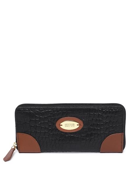Hidesign Women Black Textured Zip Around Leather Wallet