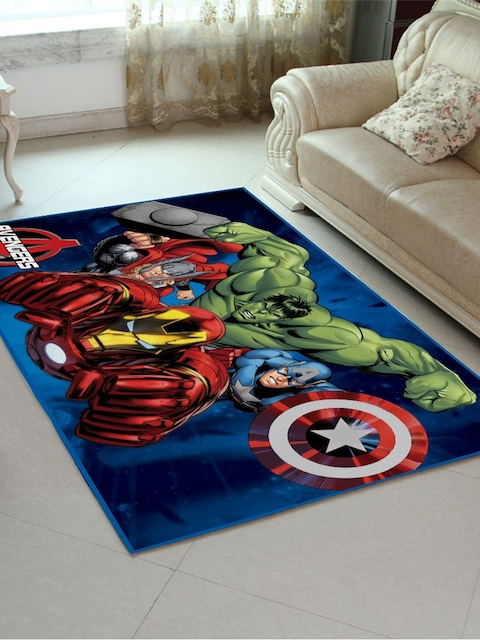 Marvel Athom Trendz Multicoloured Cartoon Printed Anti-Skid Carpet