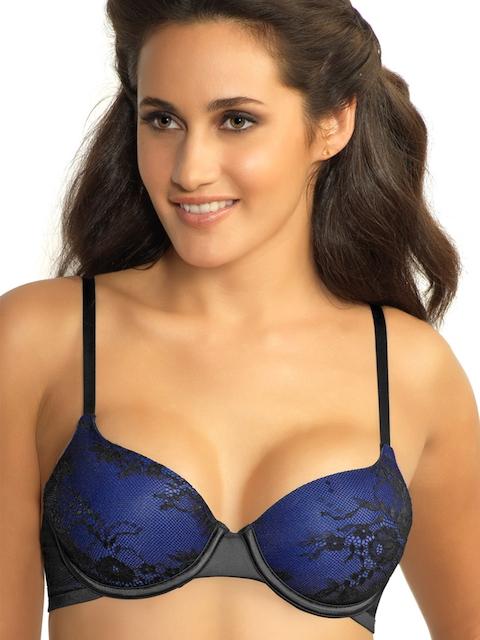 Amante Black & Blue Demi-Cup Lace Bra BRA24001