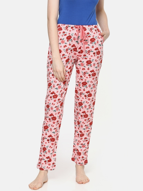 Kanvin Women Peach-Coloured & Red Printed Pyjamas MJKSS192H