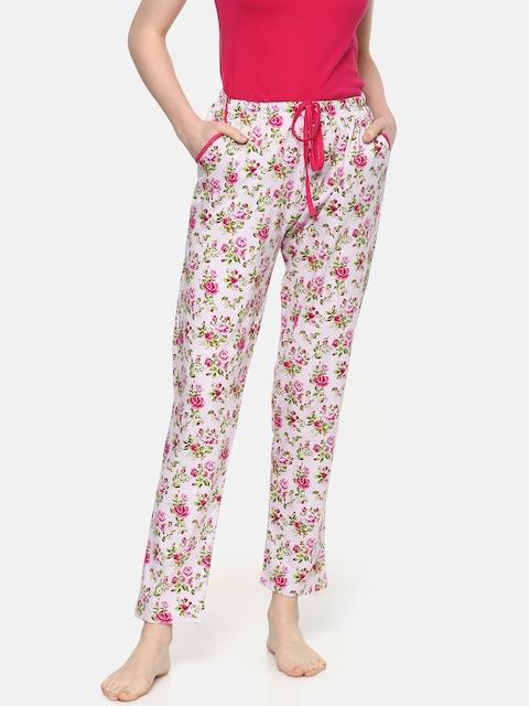 Kanvin Women Pink & White Printed Pyjamas MJKSS192N