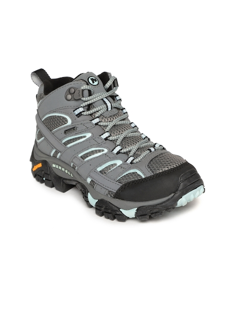 Merrell Women Grey Synthetic Mid-Top Hiking Shoes