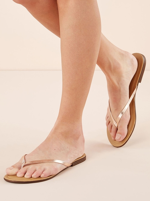 next Women Beige Solid Thong Flip-Flops