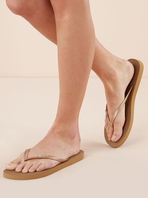 next Women Bronze-Toned Solid Thong Flip-Flops