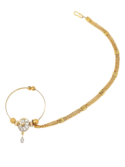 Yosshita & Neha Women Gold-Toned Pearl & Stone-Studded Copper-Plated Nose Ring with Chain