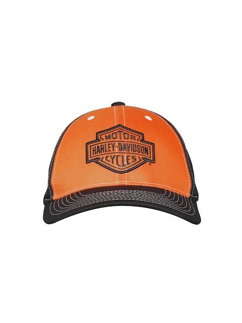 381aac7fa2a27 Harley-Davidson Men Orange   Black Colourblocked Baseball Cap