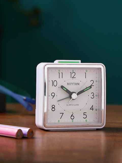Rhythm White Handcrafted Square Solid Analogue Table Clock