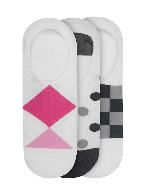 JUMP USA Women Pack of 3 White Patterned Shoe Liners