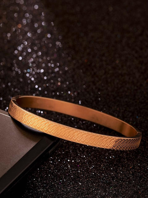 Dare by Voylla Stainless Steel Gold-Plated Handcrafted Kada Bracelet