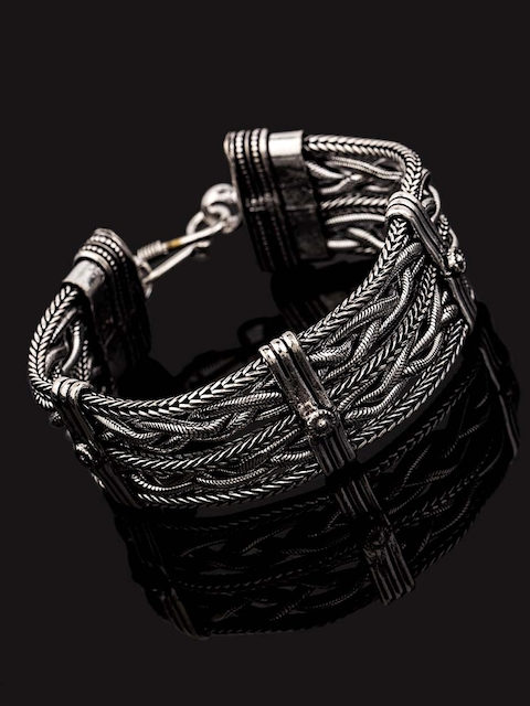 Dare by Voylla Silver-Toned Brass Silver-Plated Handcrafted Link Bracelet