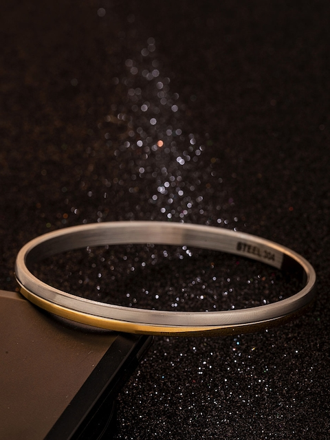 Dare by Voylla Gold-Toned Stainless Steel Rhodium-Plated Handcrafted Kada Bracelet