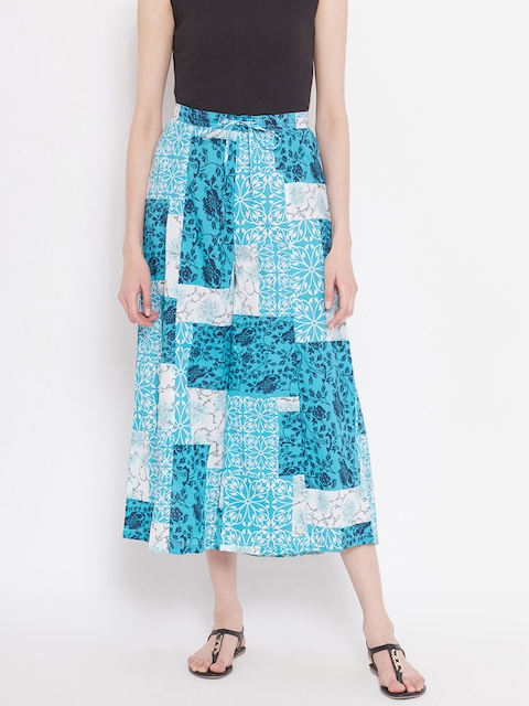 Ayaany Women Blue & White Printed Wide Leg Cropped Palazzos