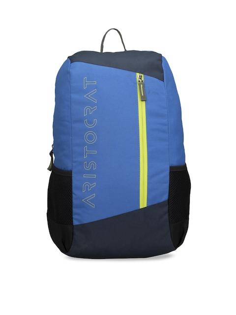 Aristocrat Unisex Blue & Black Solid Backpack