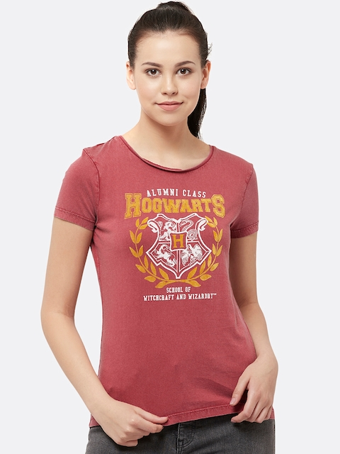 Harry Potter Women Red Printed Round Neck T-shirt