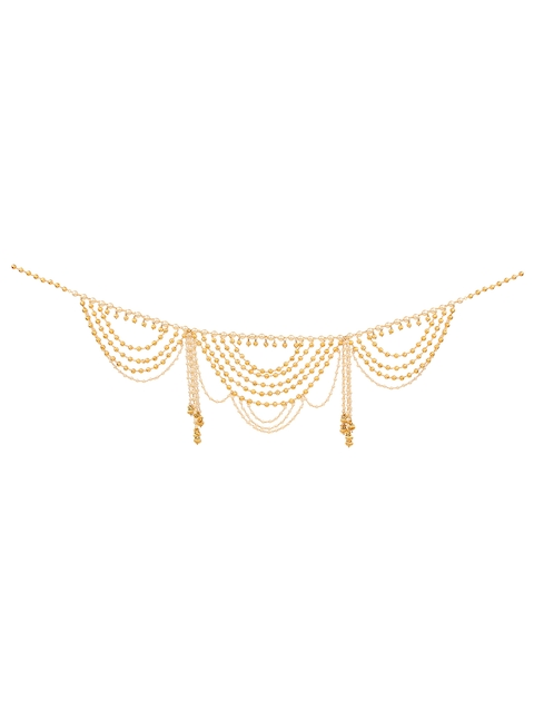 Yosshita & Neha Women Gold-Plated Pearls & Beads-Studded Saree Waist Chain