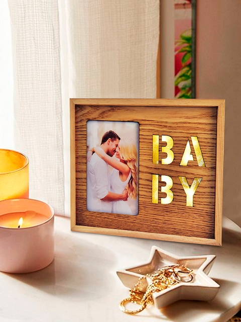 Archies Brown & Gold-Coloured Wooden Photo Frame