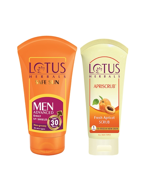 Lotus Herbals Set of SPF 30 Men Advanced Sun Block & Unisex Apriscrub