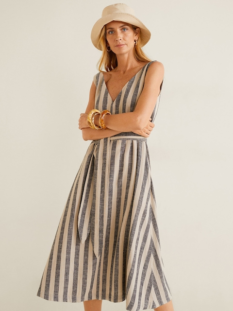 MANGO Women Beige & Black Striped A-Line Dress