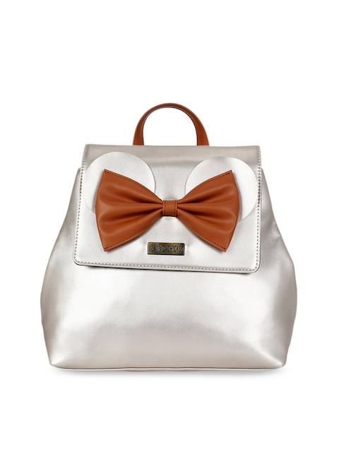 3 Mad Chicks Women Silver-Toned Solid Backpack