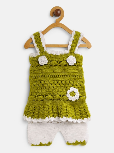 CHUTPUT Unisex Olive Green & White Self Design Top with Shorts