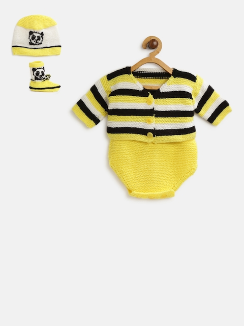CHUTPUT Unisex Yellow & Black Striped Cardigan with Bodysuit