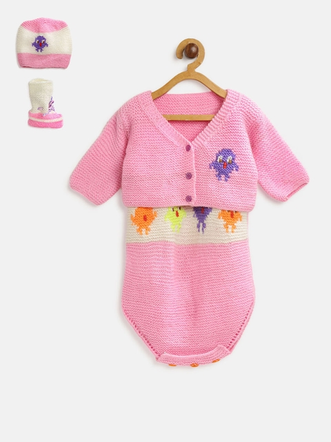 CHUTPUT Unisex Pink & White Self Design Cardigan with Bodysuit