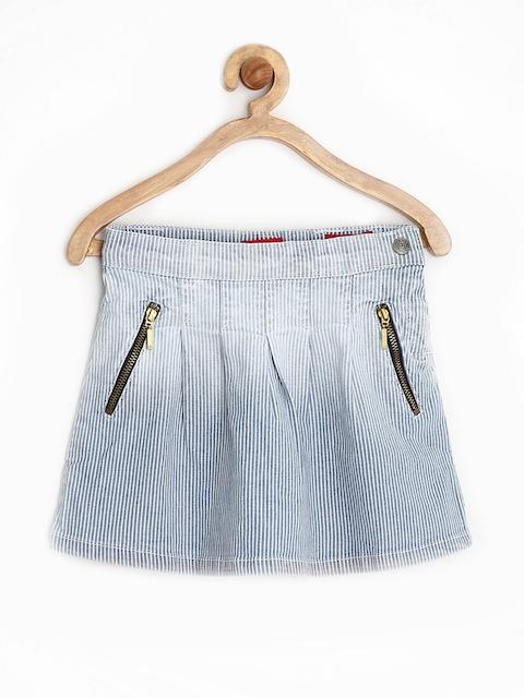GJ UNLTD JEANS by Gini & Jony Girls Blue Striped A-Line Skirt