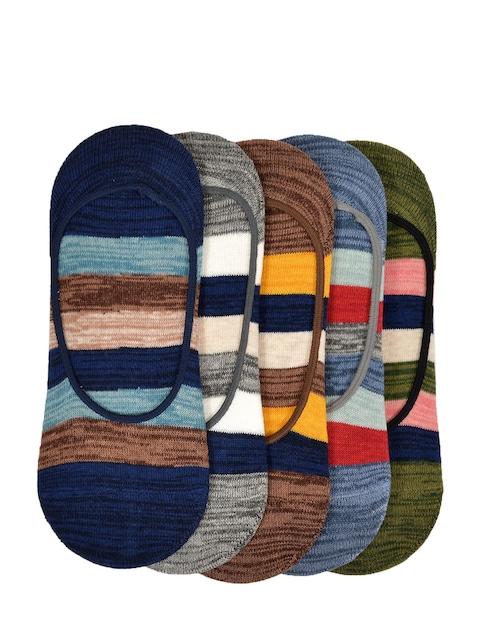 VINENZIA Men Pack of 5 Multicoloured Patterned Shoe Liners