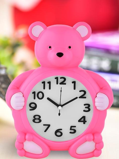 Archies Pink Round Textured Analogue Alarm Clock