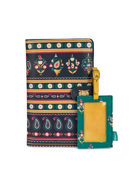 Chumbak Women Navy Blue Printed Two Fold Wallet