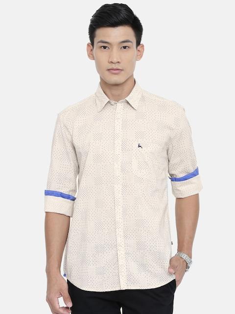 Parx Men Beige & Navy Blue Slim Fit Printed Casual Shirt